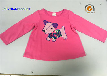 Round Neck Children T Shirt Screen Print / Applique Emb Full Sleeve Tops For Baby Girl
