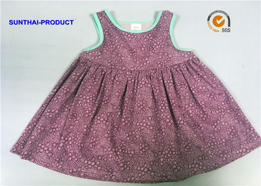 China Comfortable Texture Baby Girl Sleeveless Dress , 100% Cotton Toddler Girl Floral Dress supplier