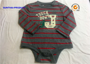Feeder Stripe Heather Gray Ground Long Sleeve Bodysuit Baby Boy OEM / ODM Avaliable