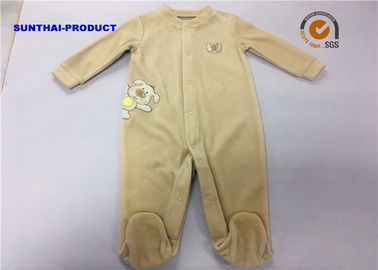 Puppy Applique Unisex Baby Pram Suit Ring Snap Closure Velour Coverall