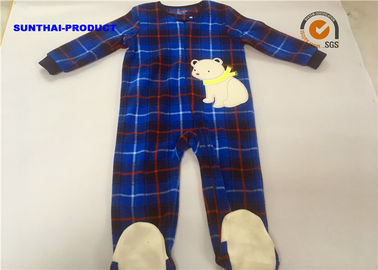 China Eco Friendly Baby Bear Pram Suit , Long Sleeve Zip Closure Infant Fleece Coveralls supplier