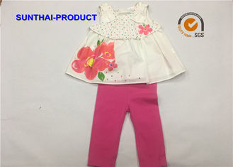 China Flower Screen Print Children's Clothing Sets 100% Cotton woven Dress / Pant 2 PCS Sets supplier