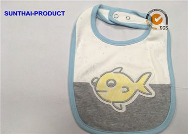 China Contrast Color Binding Applique Baby Bibs , Bubble Screen Print Baby Feeding Bibs supplier