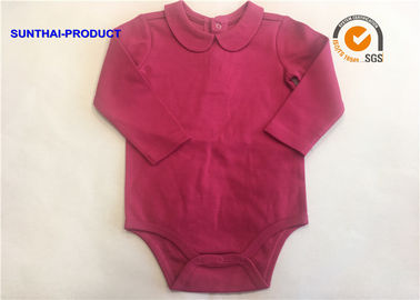 Fashion Peter Pan Collar Baby Bodysuit Raspberry Color Washable For Baby Girl