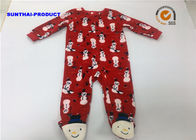 China Snowman Print Applique Baby Pram Suit Red Color Long Sleeve Over Tab Coverall factory