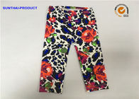 Rose Print Cute Baby Girl Leggings Lycra Jersey No Side Seam Pant SGS Approved