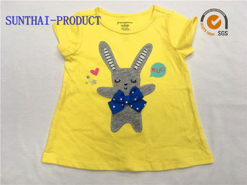 Yellow Children T Shirt Round Neck 100% Combed Cotton Knitted Single Jersey Tee Shirt