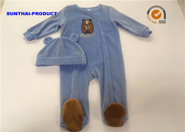 Comfortable Infant Boy Pram Suits , Long Sleeve Bear Applique Newborn Boy Coverall