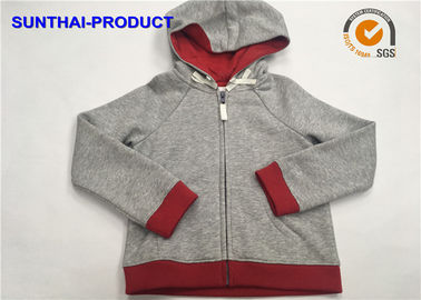 Heather Gray Kids Hooded Jacket 2 Layers Raglan Long Sleeve Toddler Girl Hooded Jacket