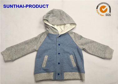 100% Cotton Kids Hooded Jacket Contrast Long Sleeve Cap Snaps For Closure